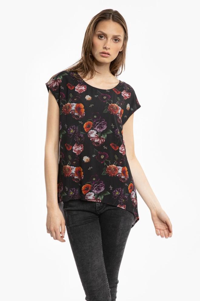 Tigha linja shirt bloemenprint zwart - Tigha