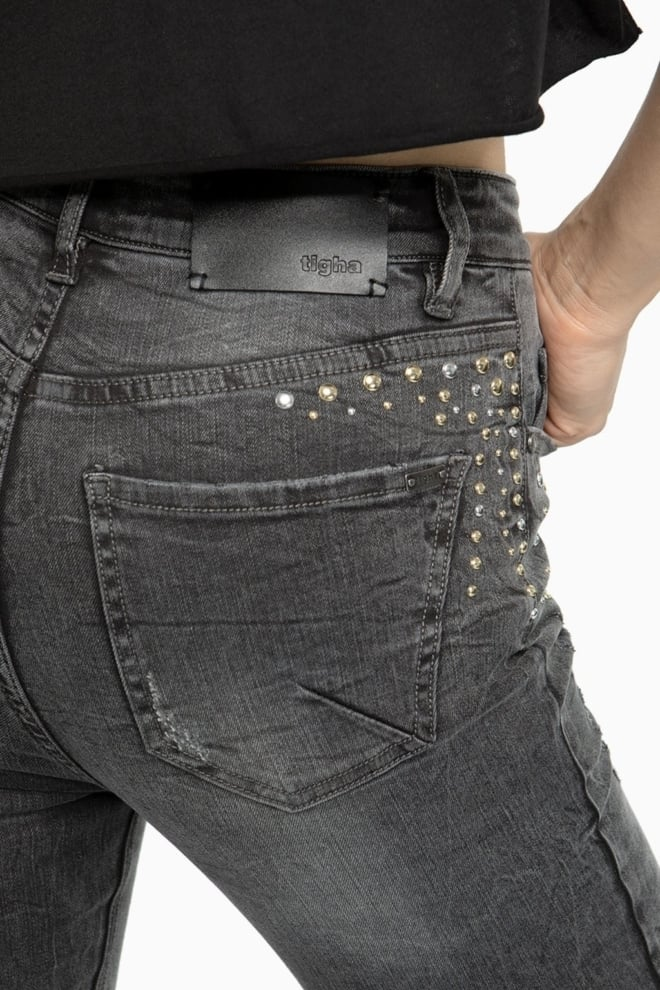 Tigha tiffy 5113 studs jeans grijs - Tigha