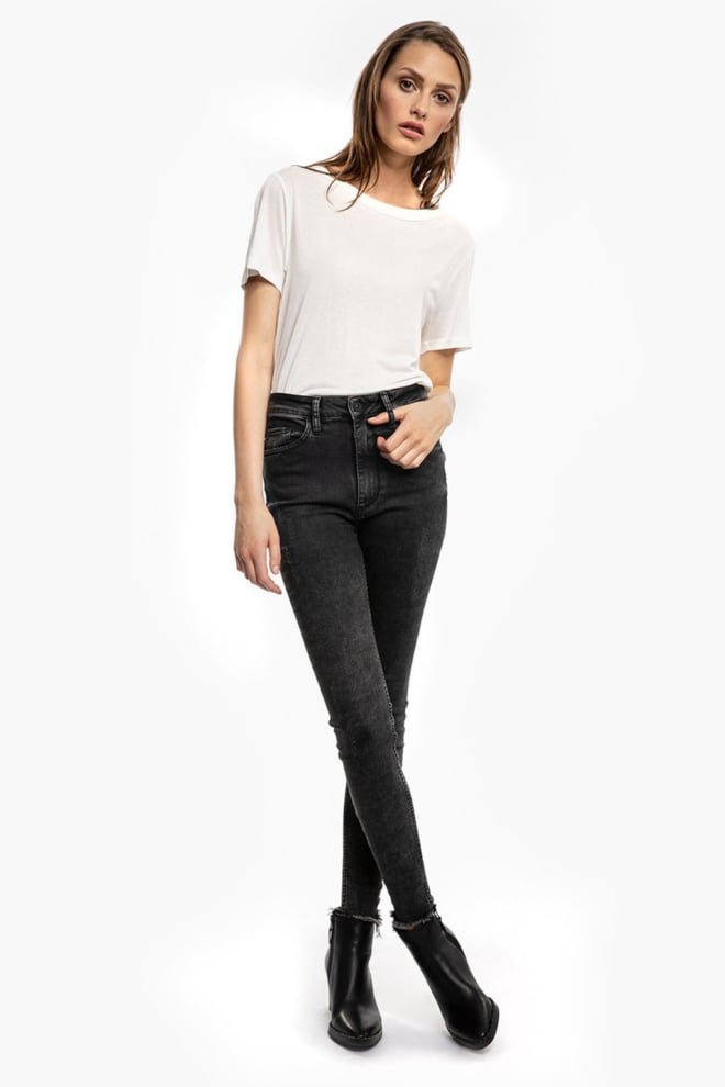 Tigha tiffy ripped hem jeans donkergrijs - Tigha
