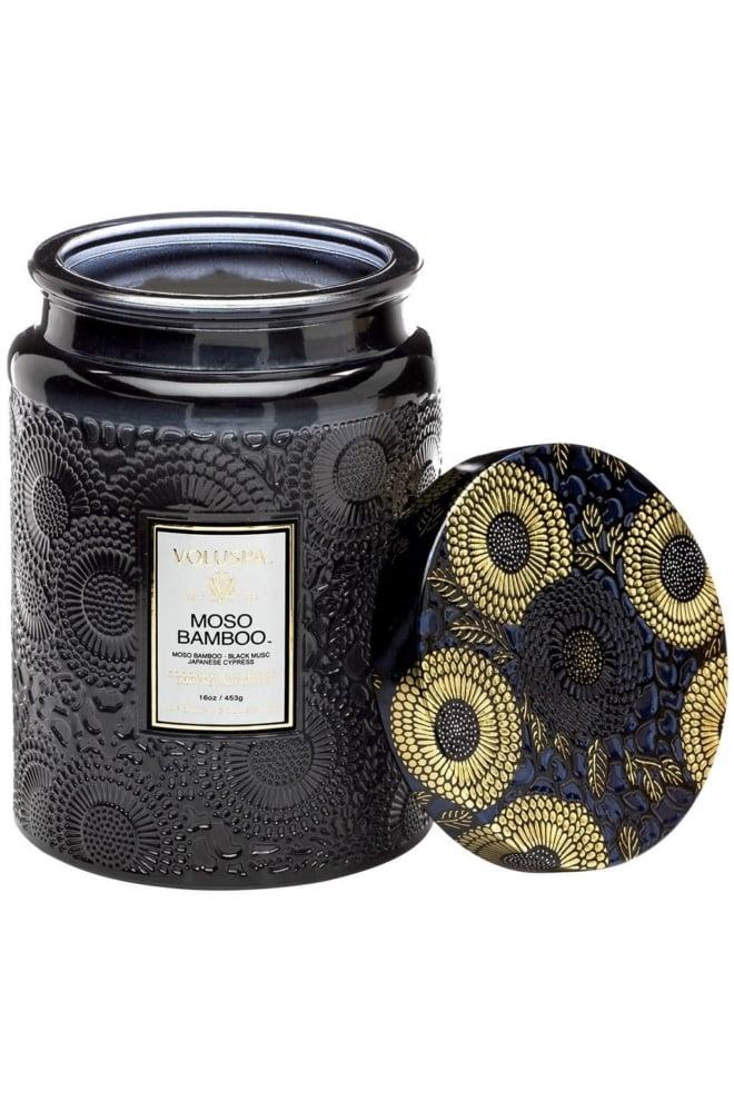 Voluspa large embossed glass jar candle - Voluspa