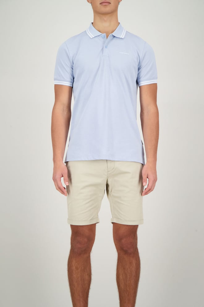 Airforce polo double stripe lichtblauw - Airforce
