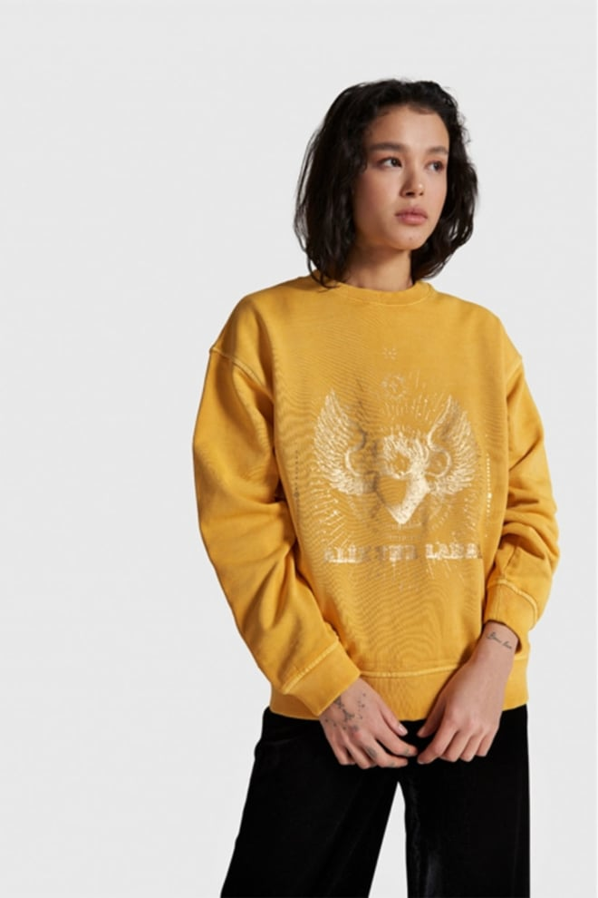 Alix the label knitted foiled sweater geel - Alix The Label