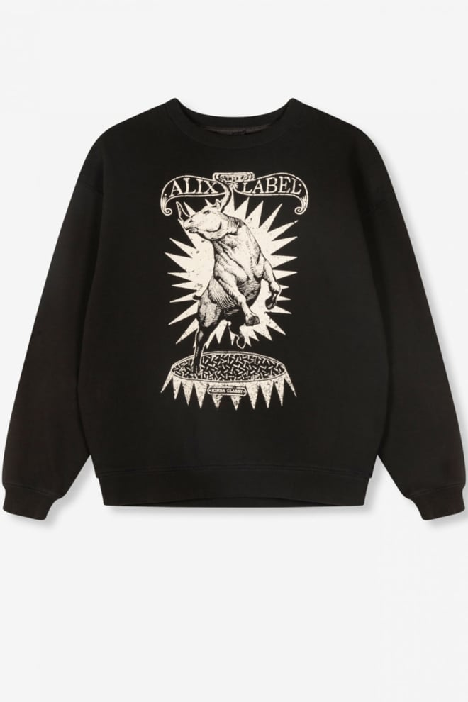 Alix the label oversized bull sweater black - Alix The Label