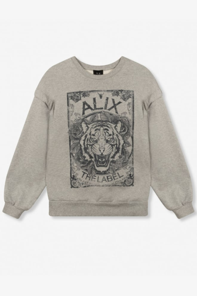 Alix the label tiger sweater soft grey - Alix The Label