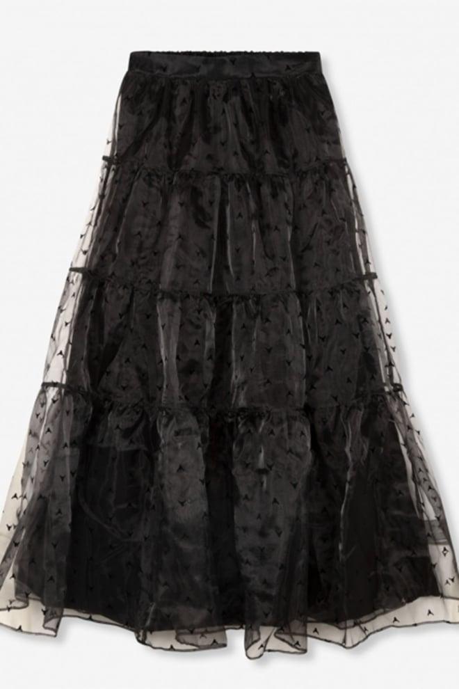 Alix the label woven wide organza full length skirt zwart - Alix The Label
