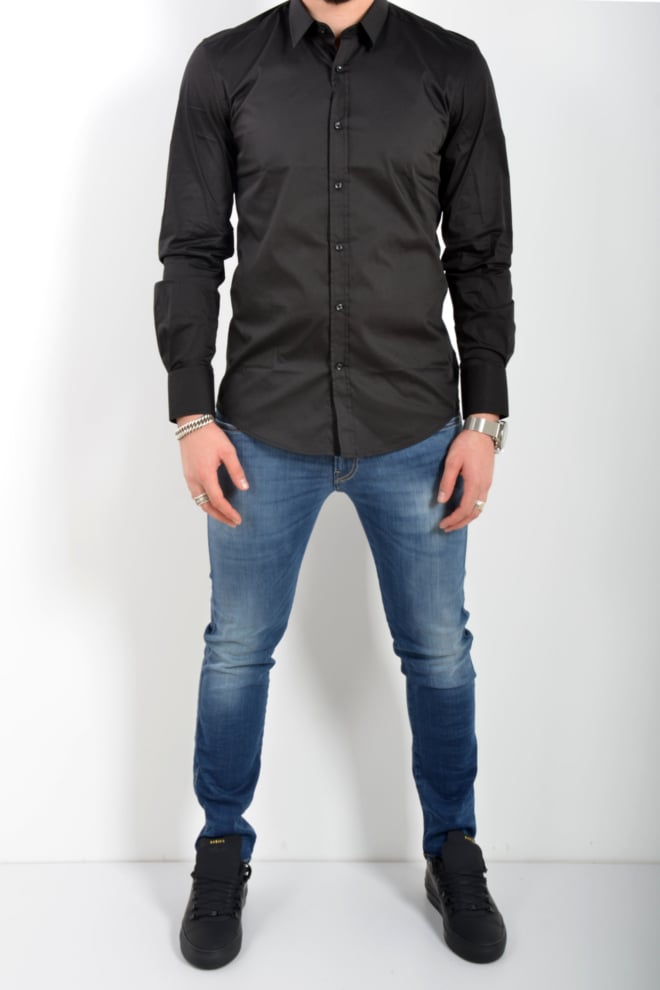 Antony morato shirt long sleeve slim black - Antony Morato