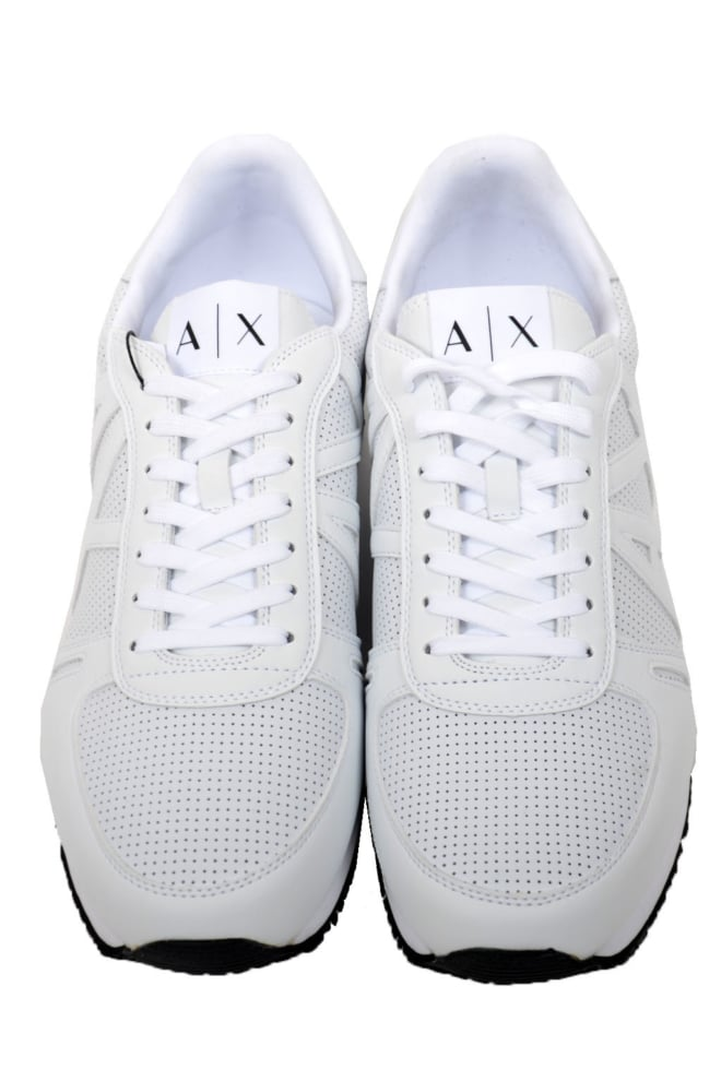 Armani man leather sneakers white