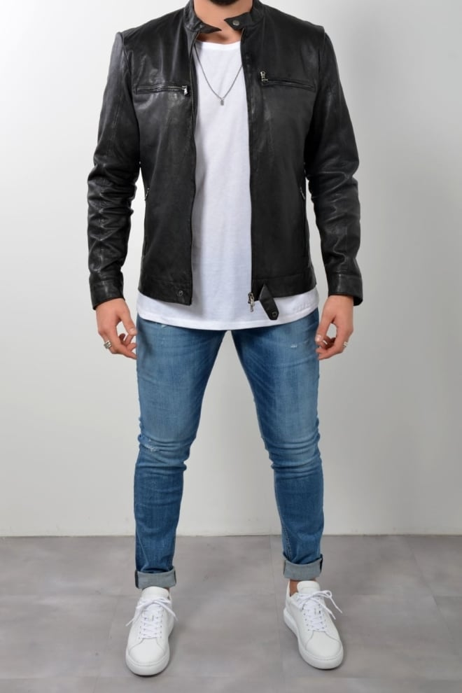 Blunt needle leather biker jacket black - Blunt Needle
