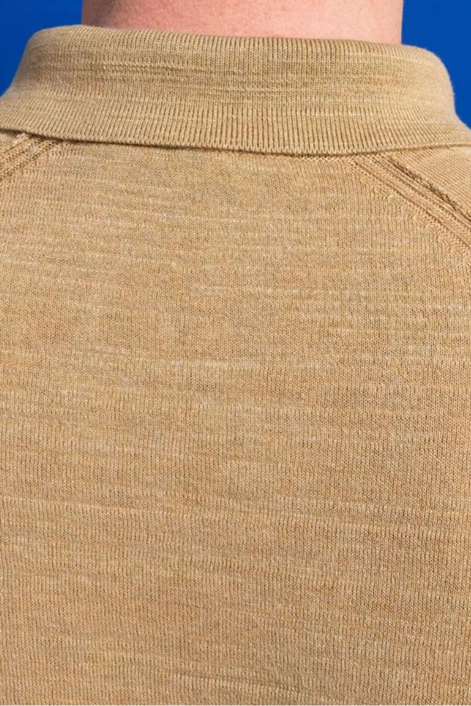 Cast iron fijn gebreide polo bruin - Cast Iron