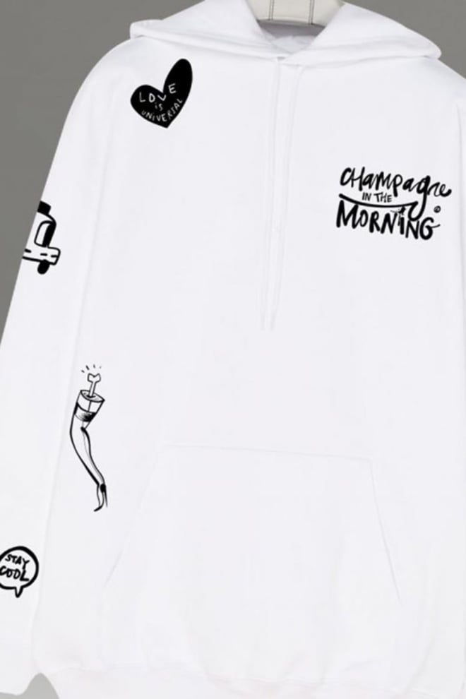 Champagne in the morning irene white hoodie - Champagne In The Morning