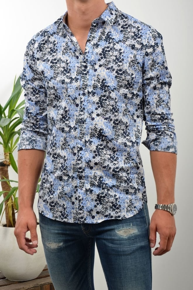 Dstrezzed flower overhemd blauw - Dstrezzed