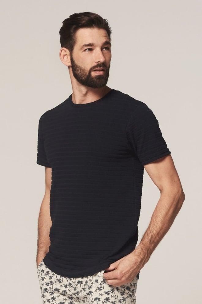 Dstrezzed t-shirt met honingraat patroon donker blauw - Dstrezzed