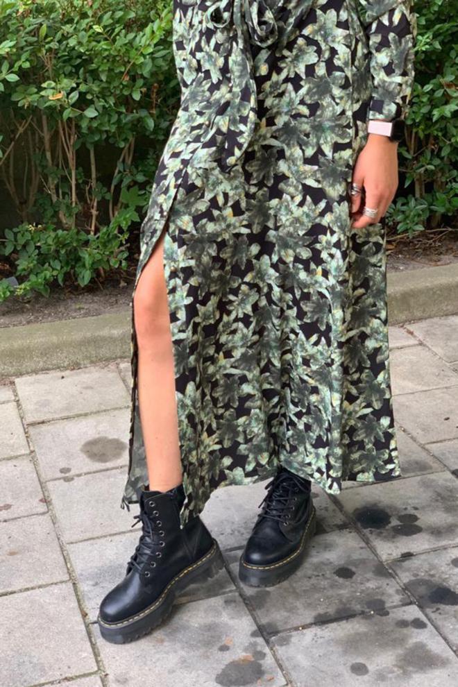 Est seven long dress army flower - Est Seven