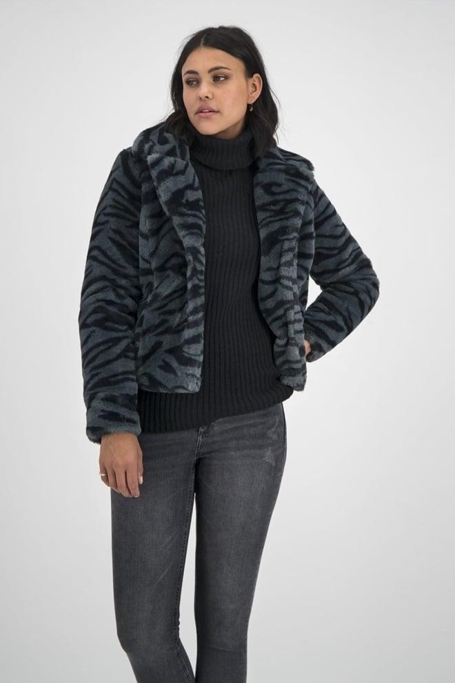 Goosecraft gallery118 faux fur jas grijs zebra - Goosecraft