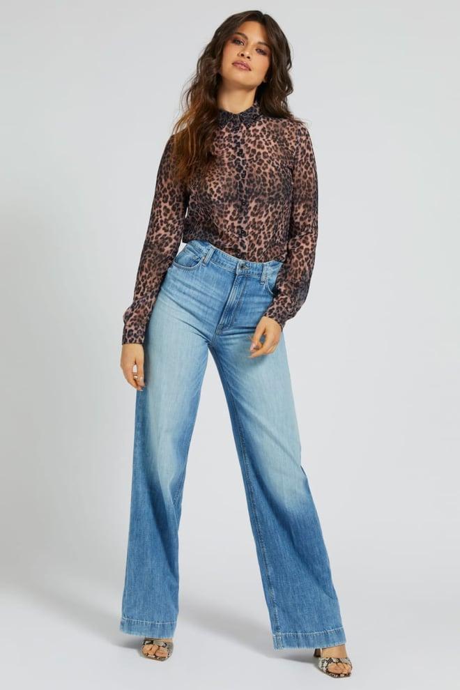 Guess clouis shirt iconic blouse bruin - Guess