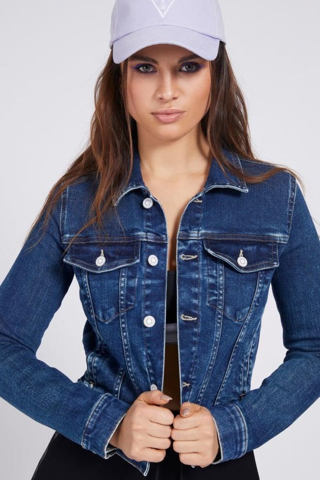Guess delya trucker jeansjas blauw - Guess