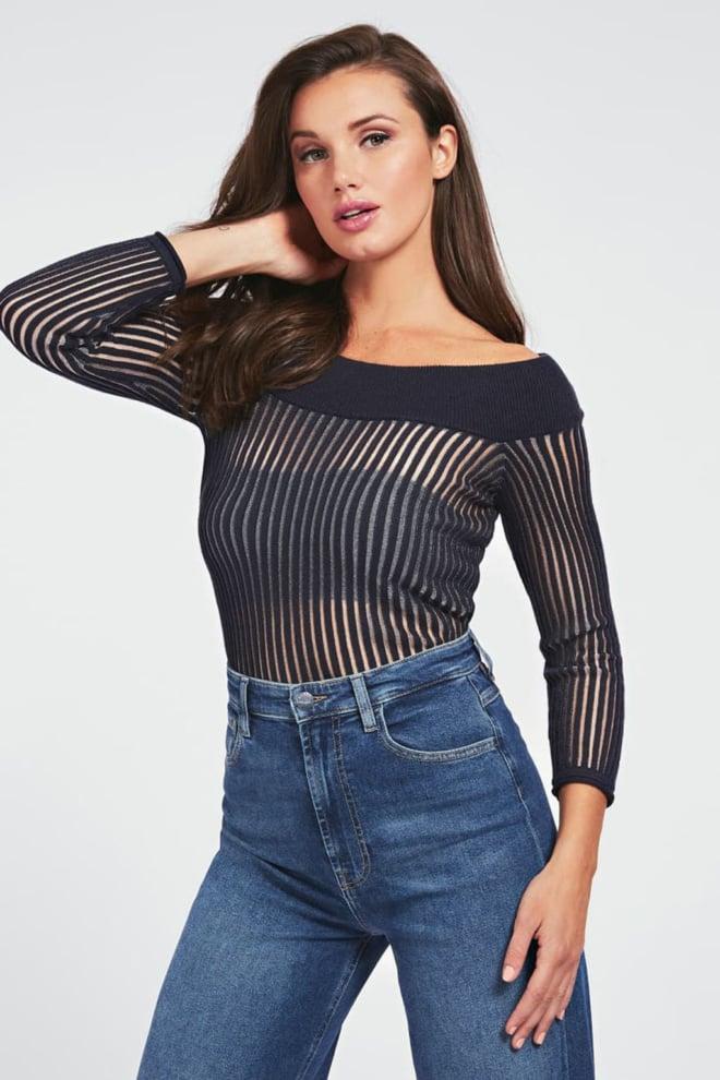 Guess greta ls sweater zwart - Guess