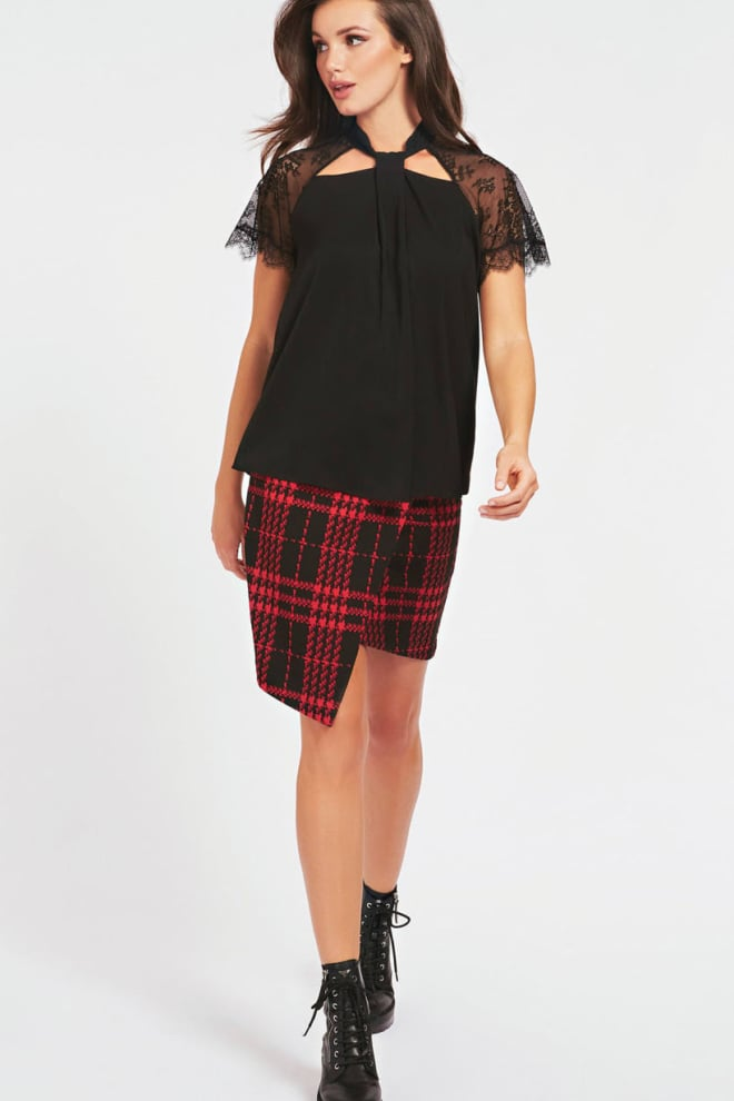 Guess lace insert satin top black - Guess