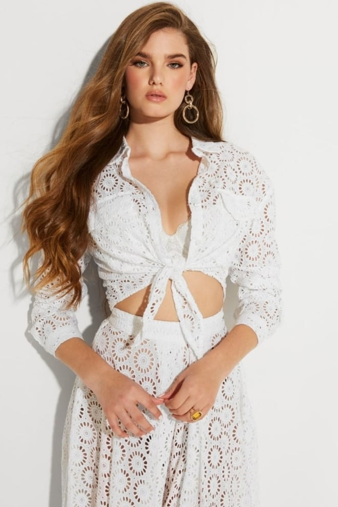 Guess ls marta shirt white - Guess