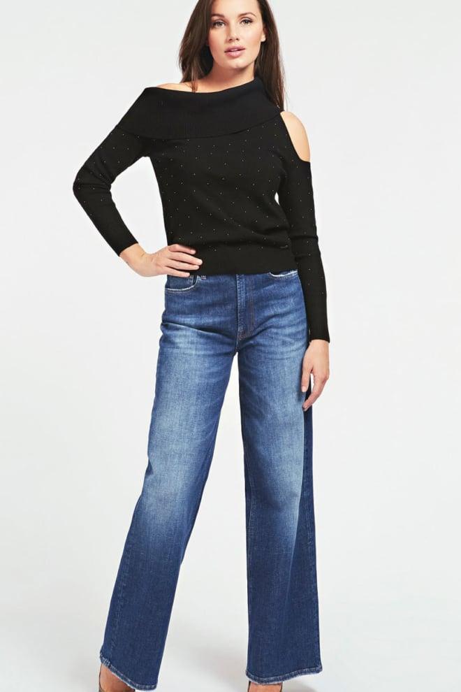 Guess off shoulder sweater zwart - Guess
