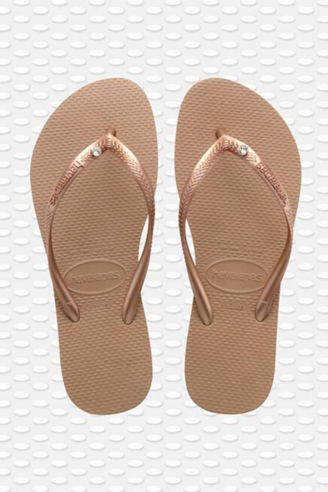 Havaianas slippers slim crystal glamour rose gold - Havaianas