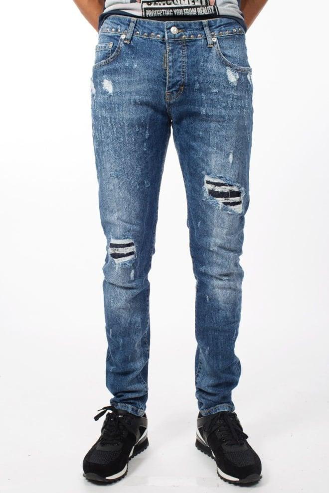 My brand jack 042 studs destroyed jeans blue - My Brand