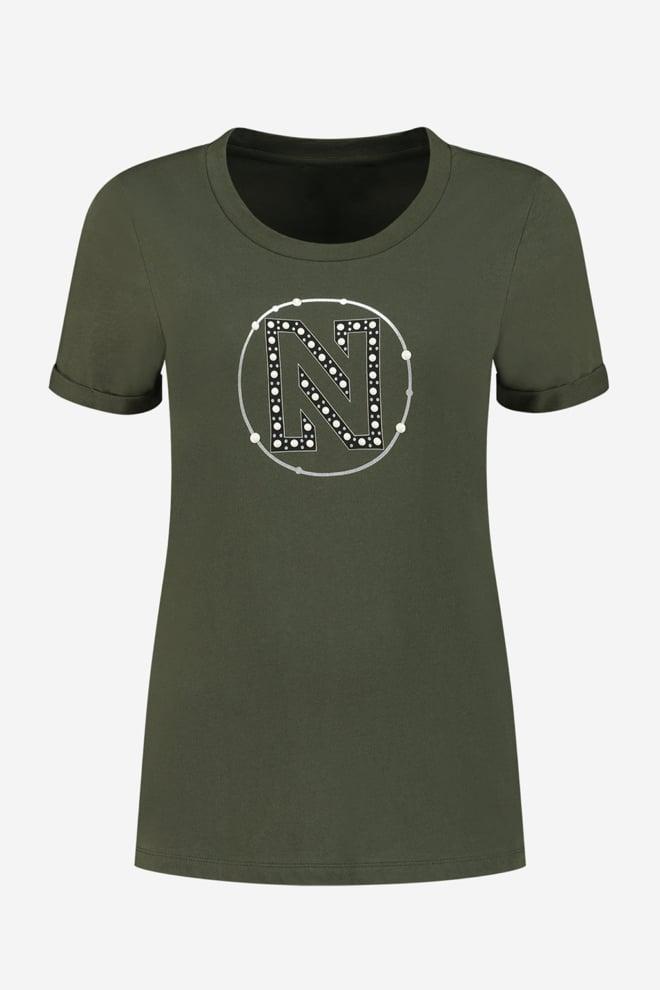 Nikkie round pearls t-shirt night forest - Nikkie