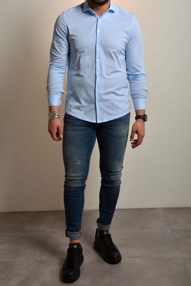 Pure hatico functional overhemd lichtblauw - Pure-hatico