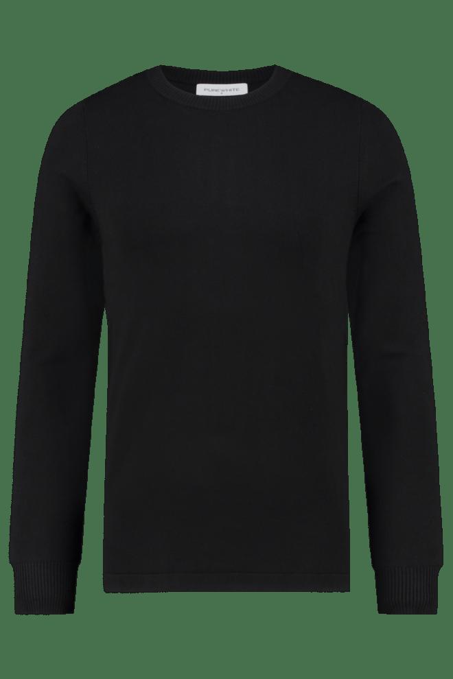 Pure white essential knit crewneck black - Pure White