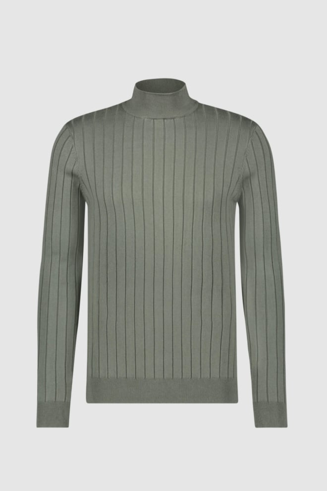 Pure white knitted mockneck sweater - Pure White