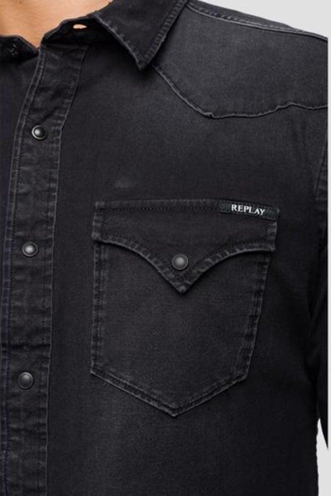 Replay denim overhemd zwart - Replay