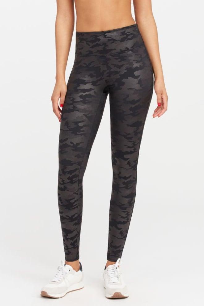 Spanx faux leather camo leggings zwart - Orobluandspanx