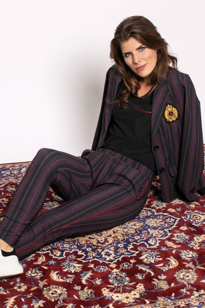 Studio anneloes flo stripe trousers black/burgundy - Studio Anneloes