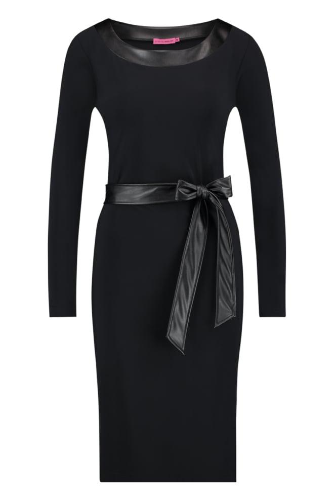 Studio anneloes porter leer tape jurk zwart - Studio Anneloes