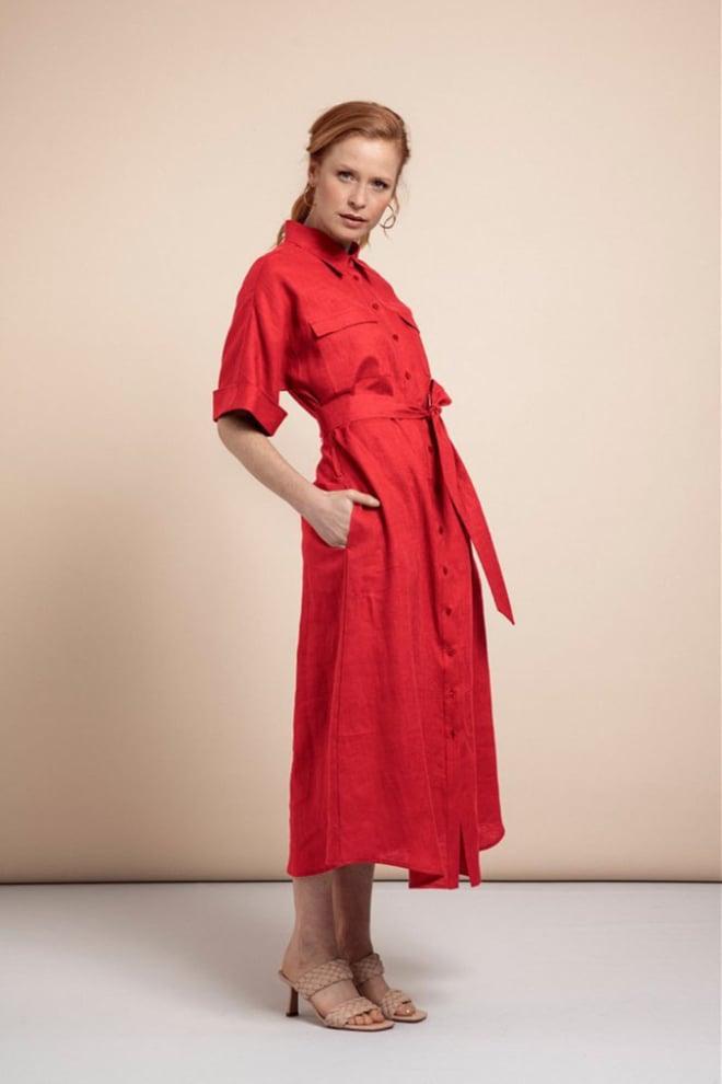 Studio anneloes marla linen jurk rood - Studio Anneloes