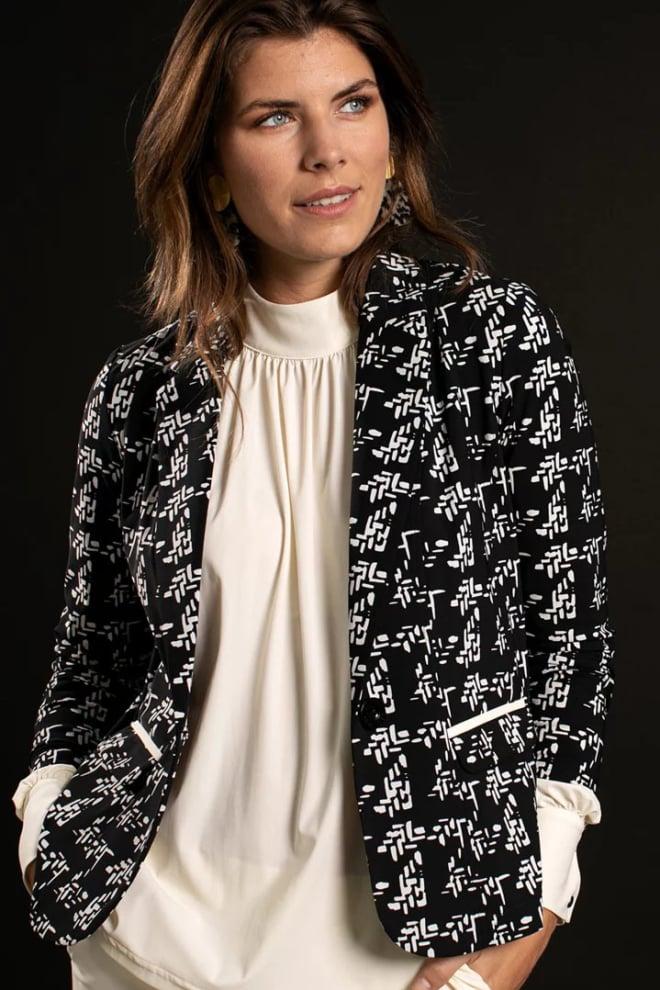 Studio anneloes risan knit look blazer zwart - Studio Anneloes
