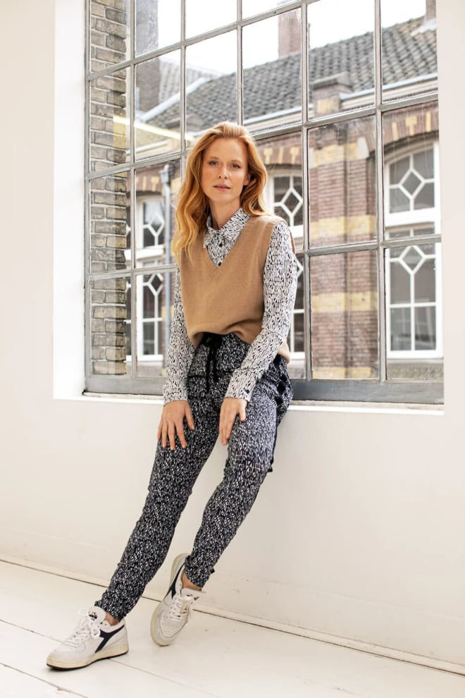 Studio anneloes road small letter trousers zwart - Studio Anneloes