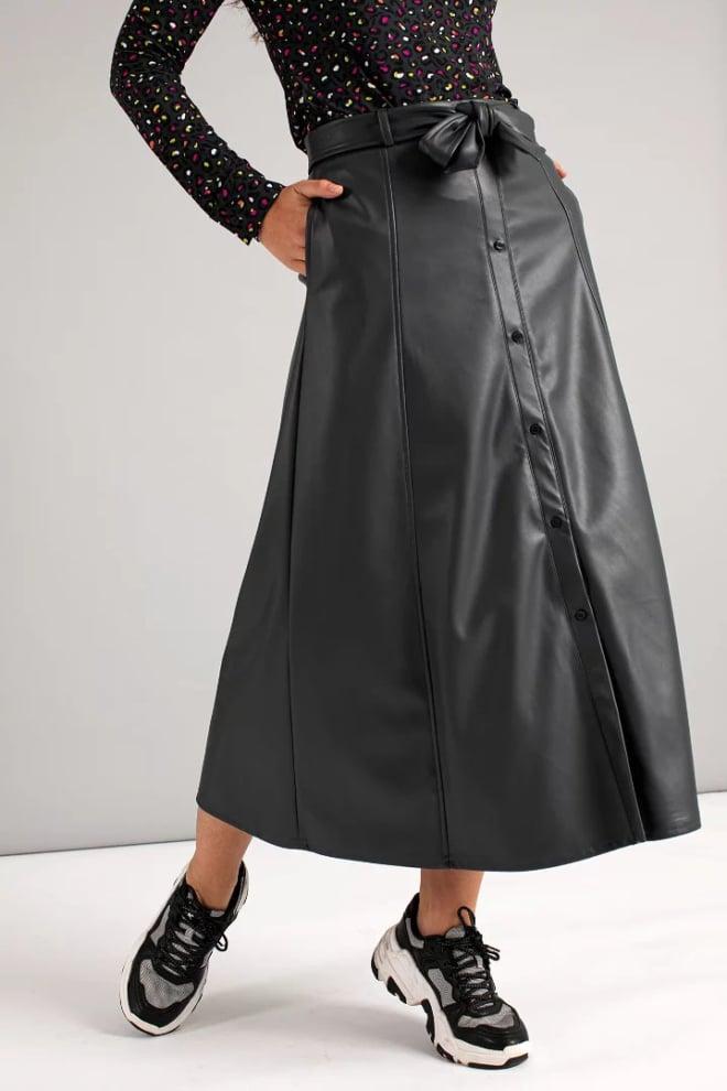 Studio anneloes suze dull leather skirt zwart - Studio Anneloes