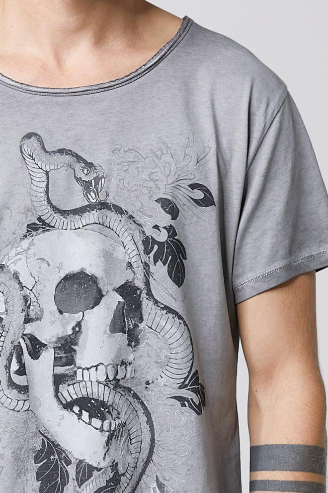 Tigha tattoo skull wren mid grey t-shirt - Tigha