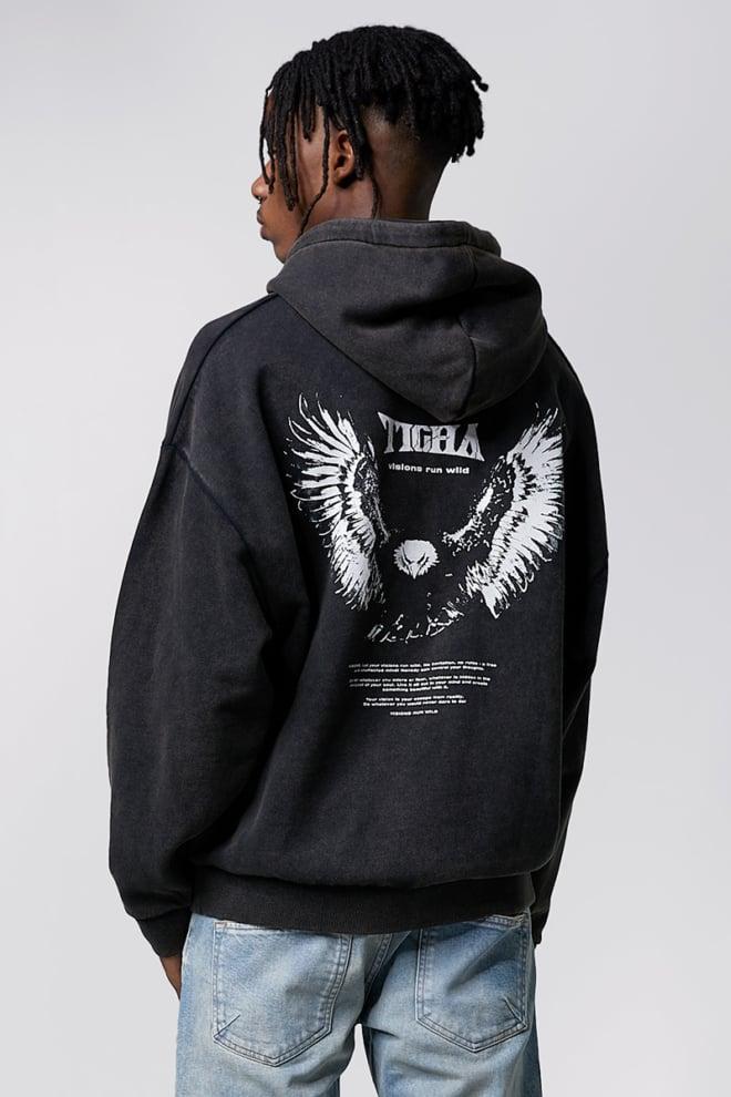 Tigha wild eagle hoodie vintage black - Tigha