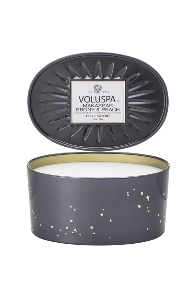 Voluspa oval tin 2 wick candle makassar ebony peach - Voluspa