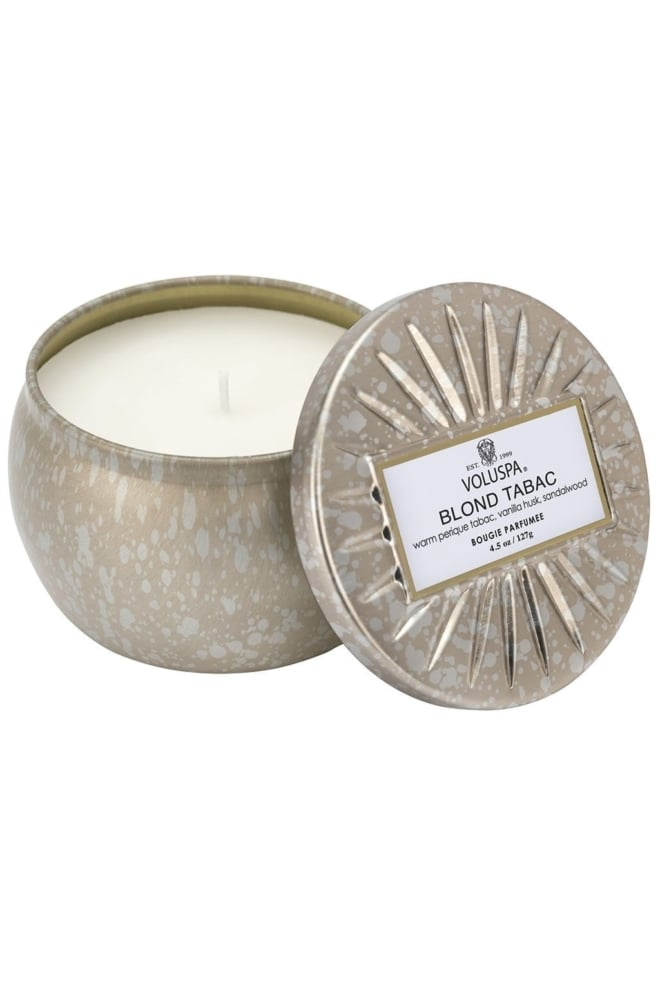 Voluspa petite decorative tin candle blond tabac - Voluspa