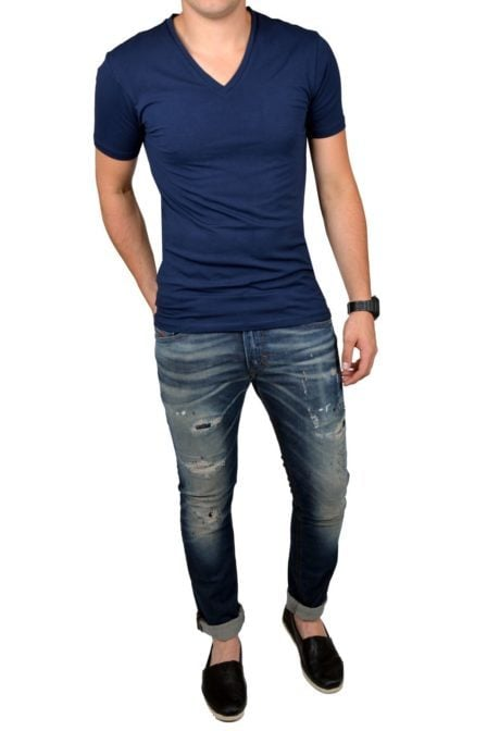 Navy t-shirt men v-neck