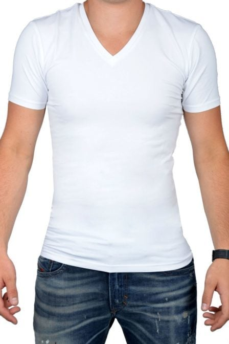 White t-shirt men v-neck