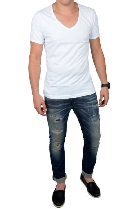 White t-shirt men deep v-neck