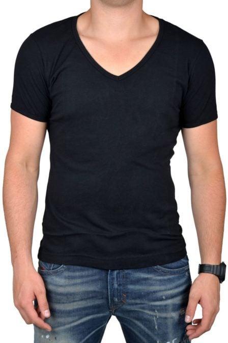 Black t-shirt men deep v-neck