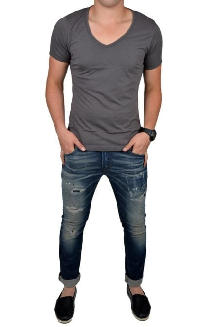 Grey t-shirt men deep v-neck