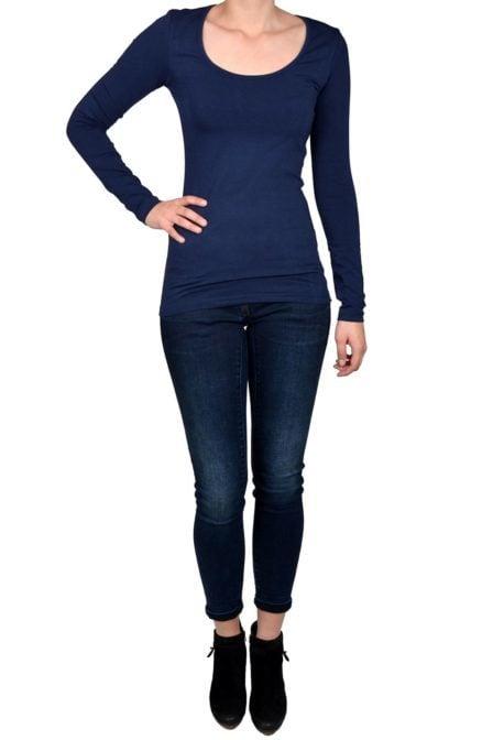 Navy t-shirt women long sleeve
