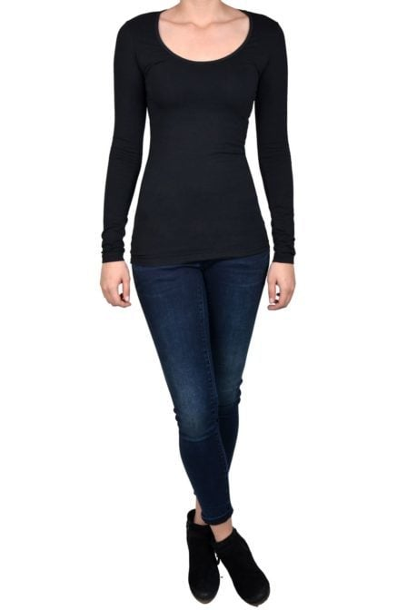 Black t-shirt women long sleeve