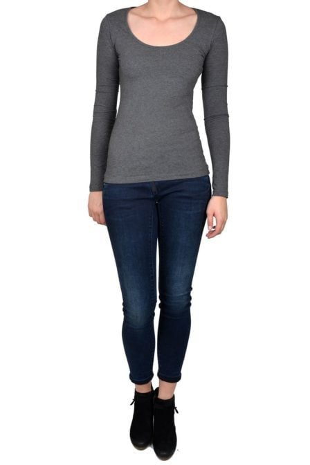 Grey t-shirt women long sleeve